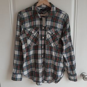 NWT J Crew Crinkle Plaid Button Front Shirt Size 6